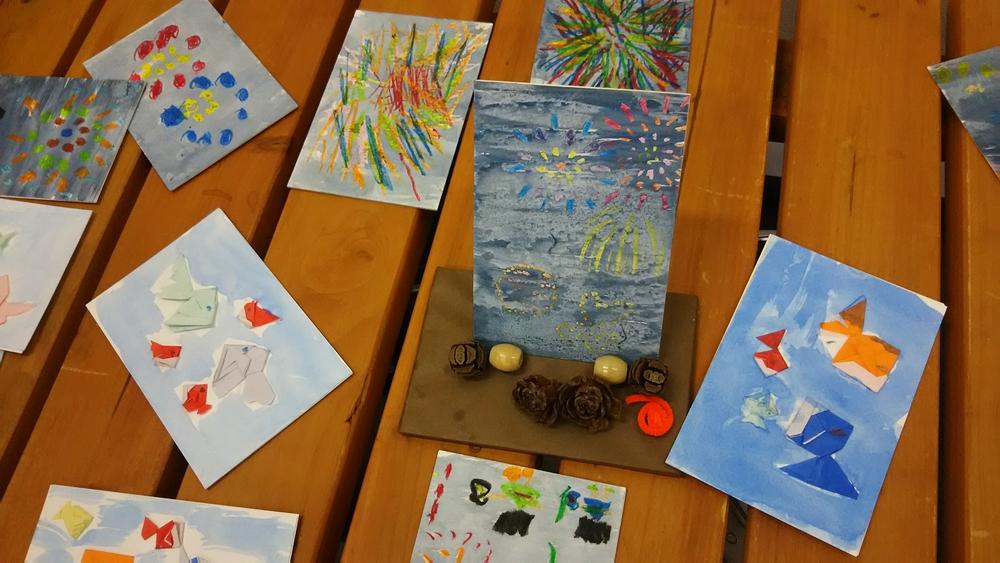 金魚と花火の色紙作品